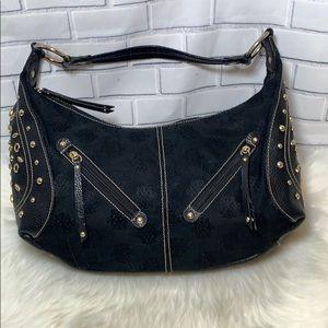 Lexi Bloom Black Grommet Trim Shoulder Bag
